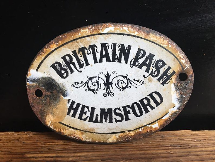 Small antique enamel sign 'Brittain Pash Chelmsford' - Antique enamel plaque