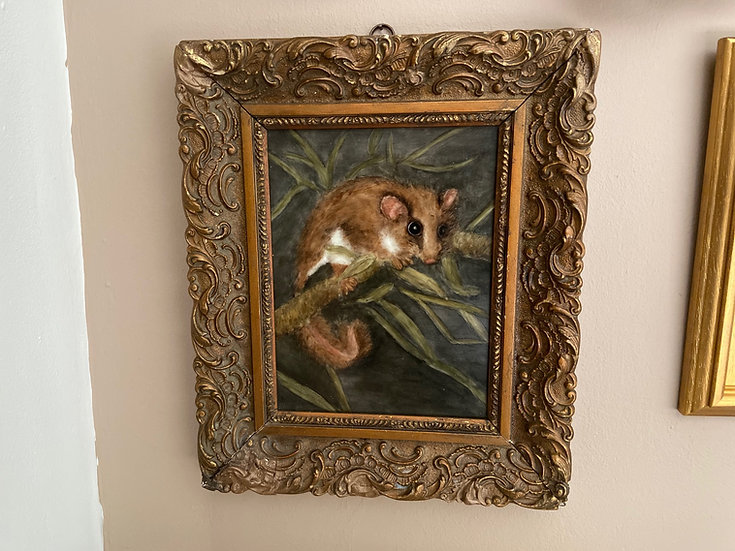 Small antique dormouse painting on tile