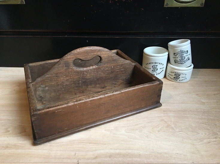 Vintage wooden cutlery trug