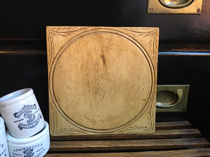 Vintage square carved breadboard - carved bread board