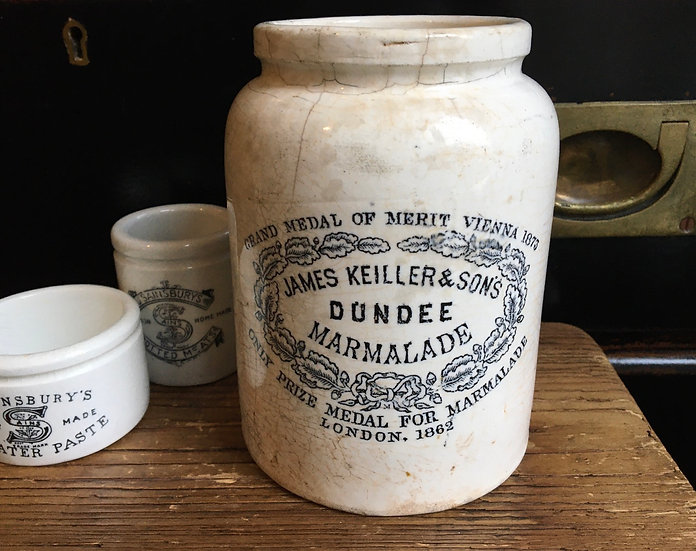 Antique 2lb James Keiller marmalade pot with rolled shouler