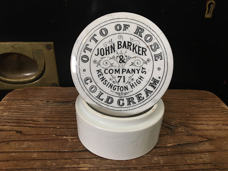 Otto of Rose Cold Cream pot lid and base John Barker