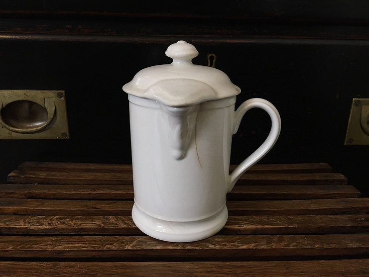 Antique Dutch white ironstone syrup jug