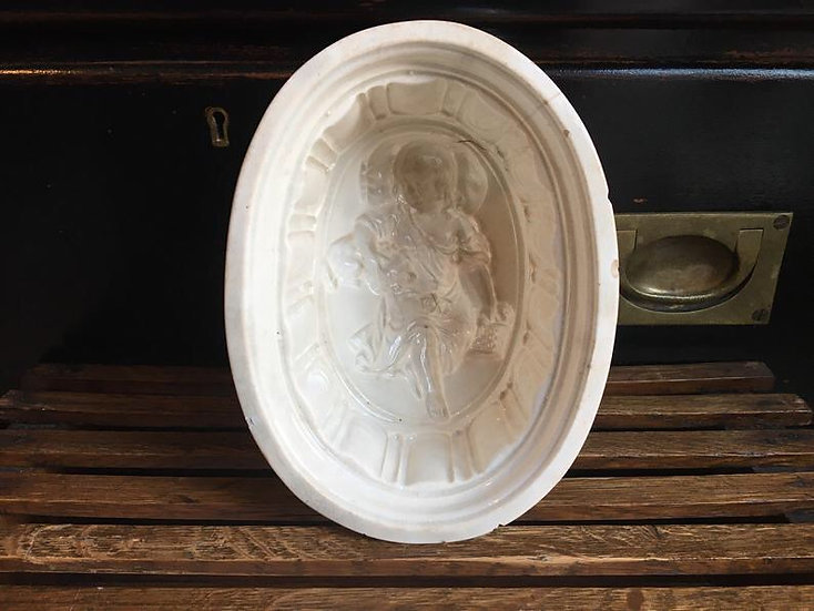 Victorian Antique white ironstone jelly mould of a child with a dog