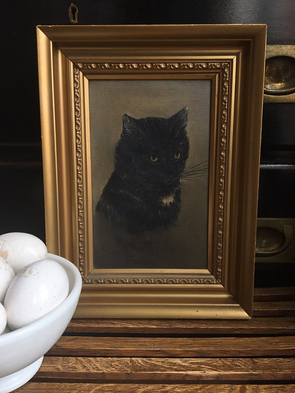 Small antique black cat oil painting on canvas - antique oil painting of a cat