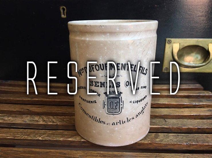 RESERVED French Dufourmentel Fils Senlis pot - confiture pot Creil Et Montereau