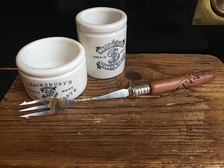 Vintage pickle fork with carved wooden handle - treen handle pickle fork