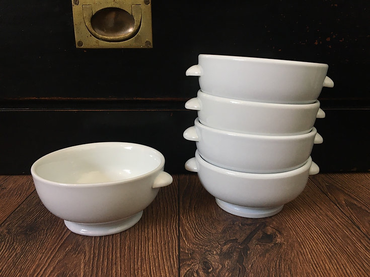 1x Vintage French porcelain footed bowl with handles