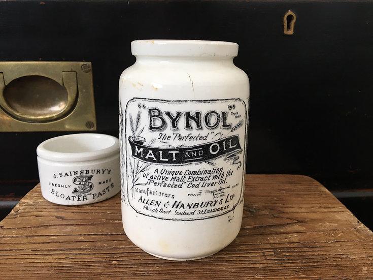 White ironstone Bynol jar 1lb
