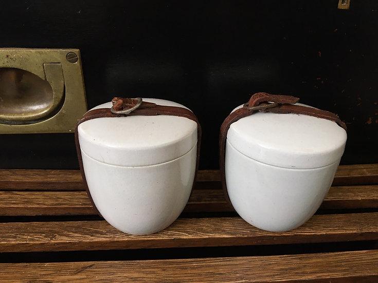 Set of two antique plain white ironstone picnic pots