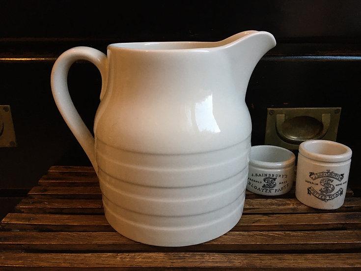Large white ironstone banded jug - large white ironstone pitcher