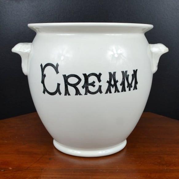 Antique white ironstone cream pail/jar
