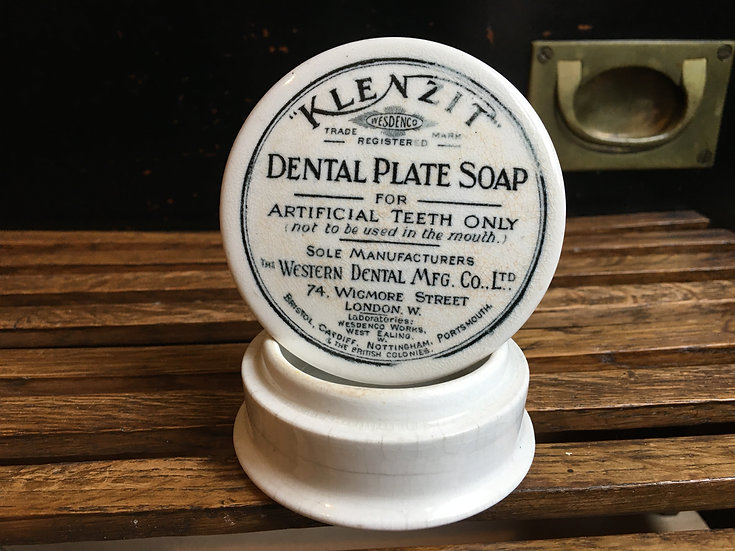 Antique white ironstone pot lid and base - Klenzit Dental Plate Soap