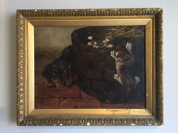 Antique oil painting on canvas of a puppy and 3 kittens in a basket in a barn