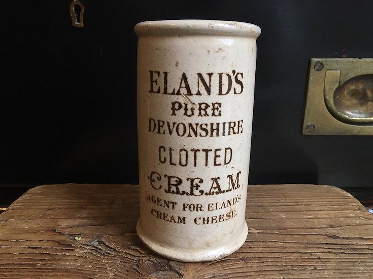 Antique stoneware Eland's Devonshire clotted cream crock - clotted cream pot