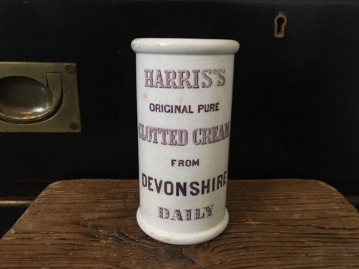 Antique white ironstone Harrison cream crock - purple transfer