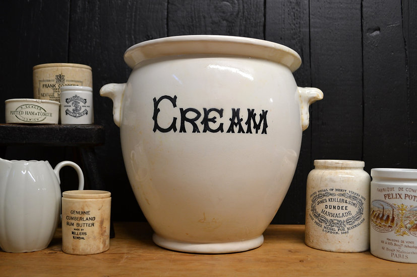 Large antique 'Cream' pail - Maling
