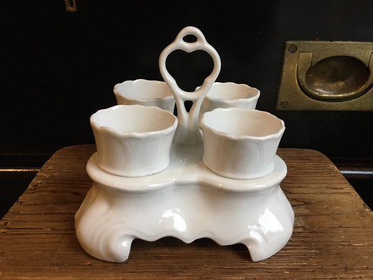 Antique porcelain egg holder - porcelain egg carrier - pottery egg rack