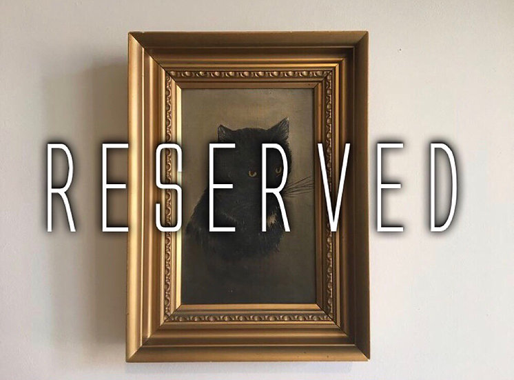 RESERVED FOR MG - antique black cat oil painting on canvas