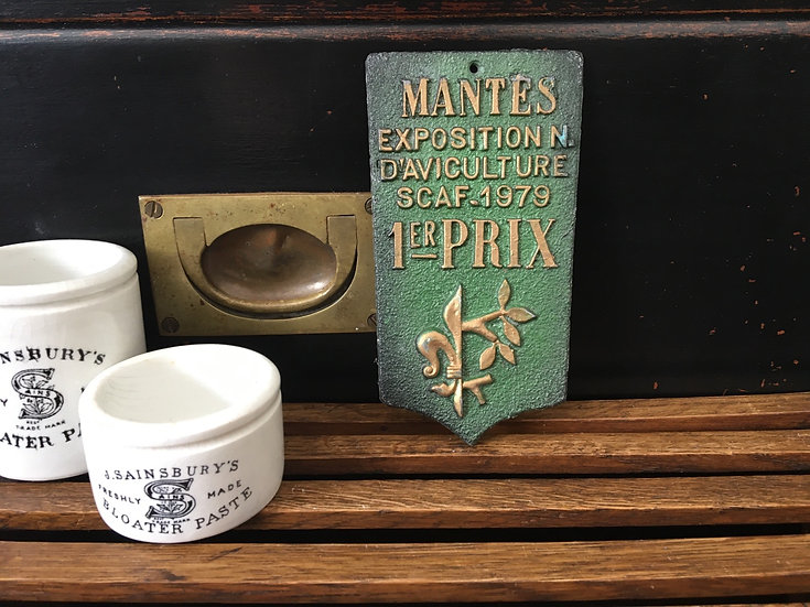 Vintage French Aviculture prize plaque - Mantes