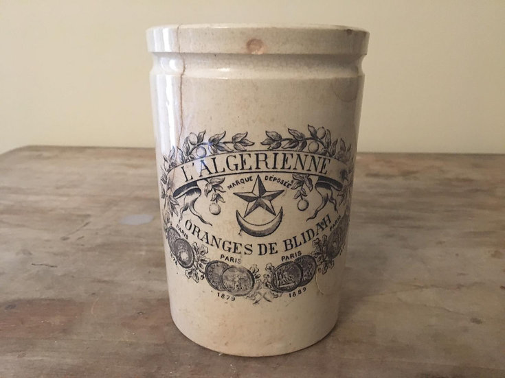 RARE Antique French L'Algerienne confiture pot