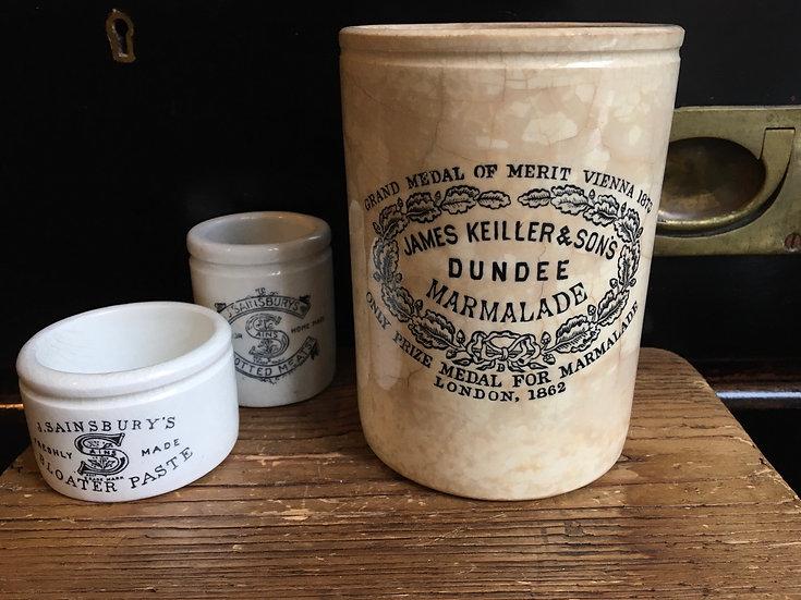 Antique ironstone 2lb James Keiller marmalade pot - perfect patina!