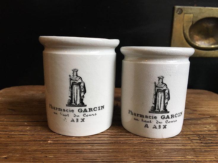 1x Antique French ironstone pharmacy pot - Pharmacie Garcin