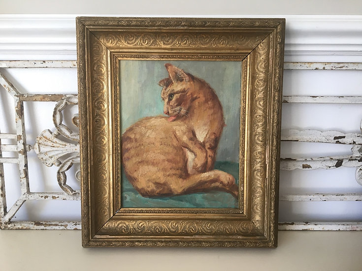 Vintage French oil painting on canvas of a ginger cat