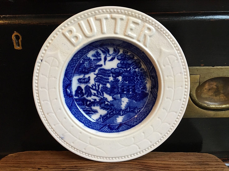 Antique ironstone butter dish