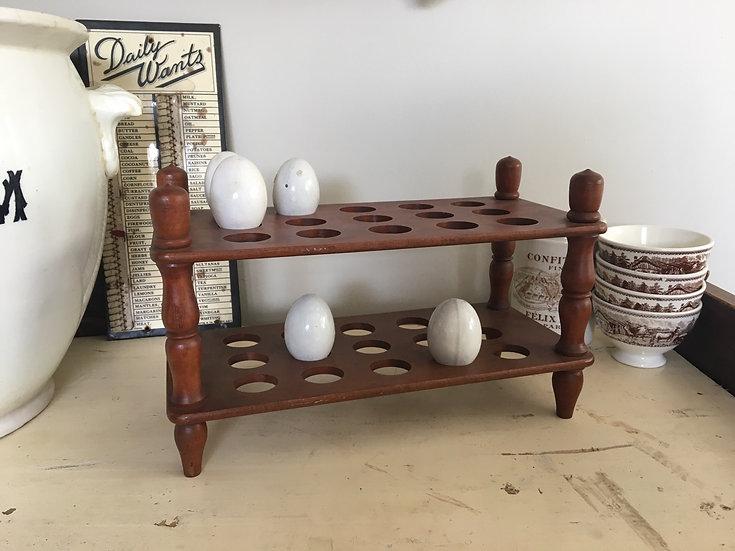 Vintage 2 tier wooden egg rack - for 30 eggs