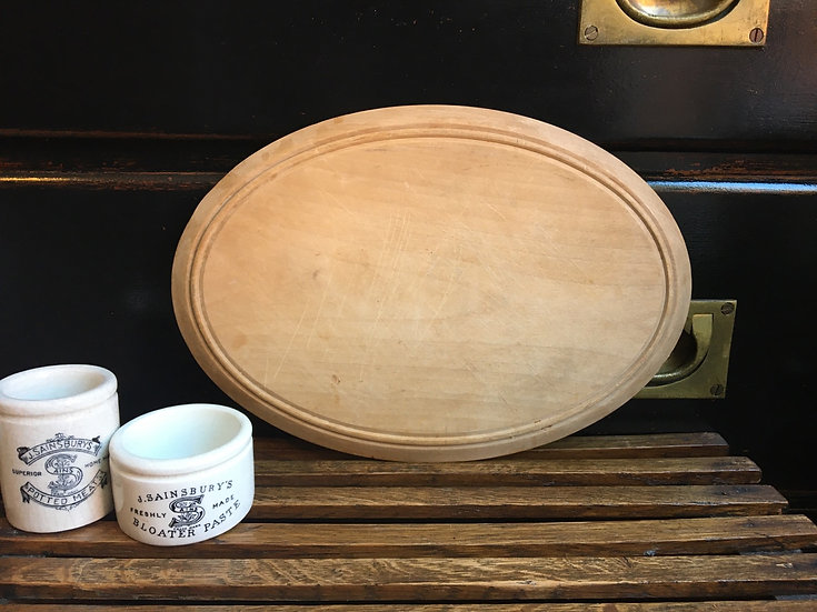 Vintage oval wooden bread board