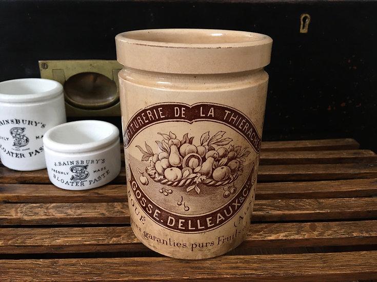 RARE Antique French confiture pot - Gosse Delleaux & Cie
