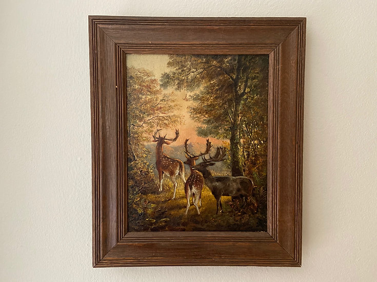 Fallow deer stags Victorian oil painting
