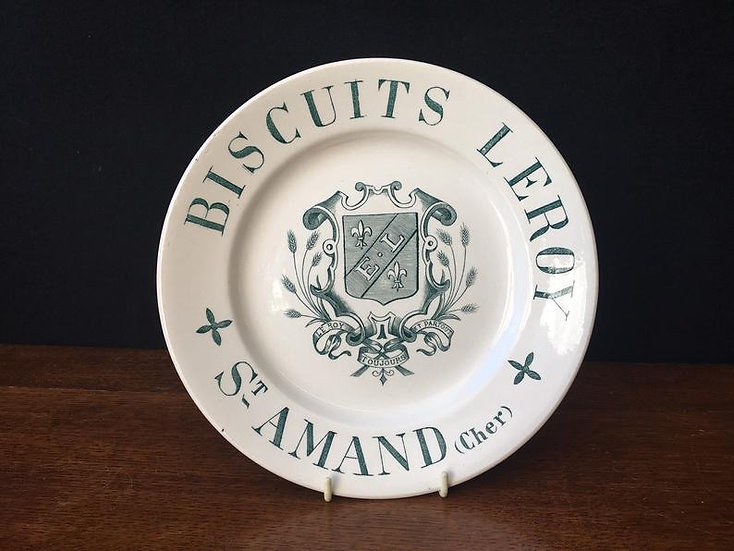 Antique French ironstone plate with green transfer - Ironstone biscuit Leroy St