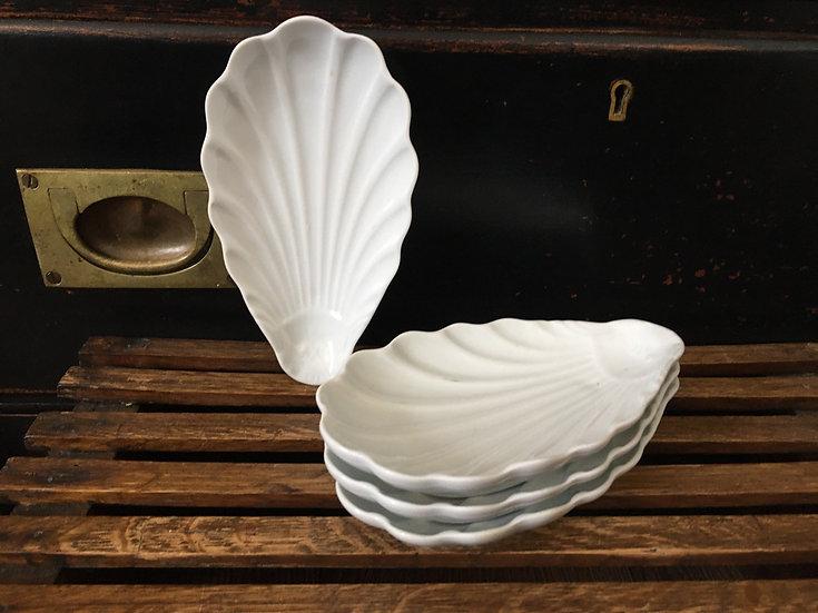 Set of 4 French white porcelain shell dishes - Pillivuyt