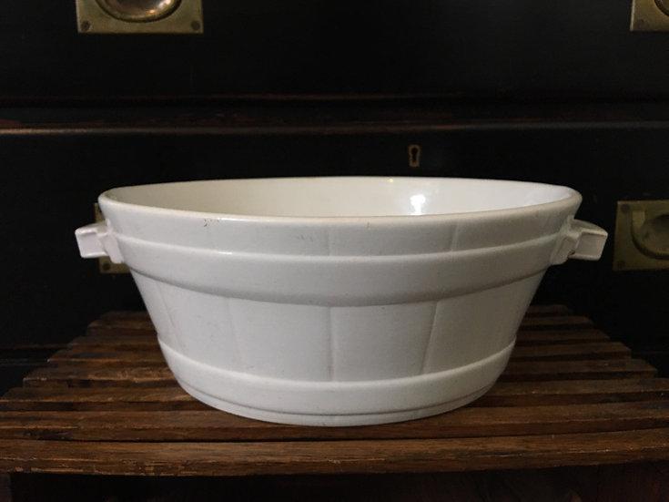 1x Antique white ironstone butter bowl - Boch la Louviére