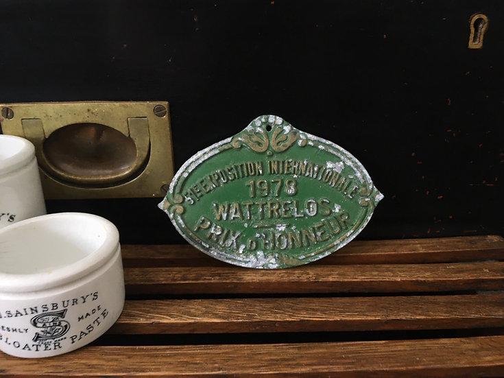 Vintage French animal show prize plaque - Wattrelos