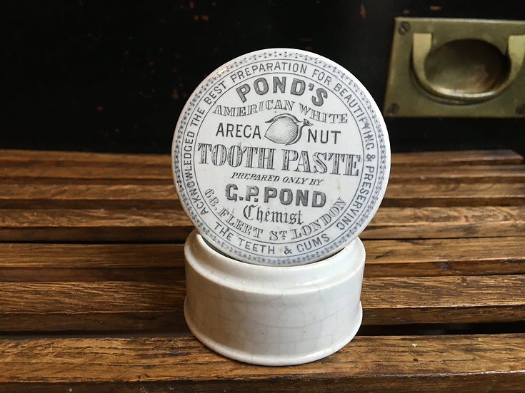 Victorian tooth paste pot lid and base - Pond's Areca Nut Tooth Paste