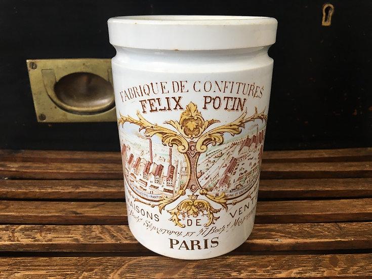 1x Antique French Felix Potin confiture pot - Polychrome