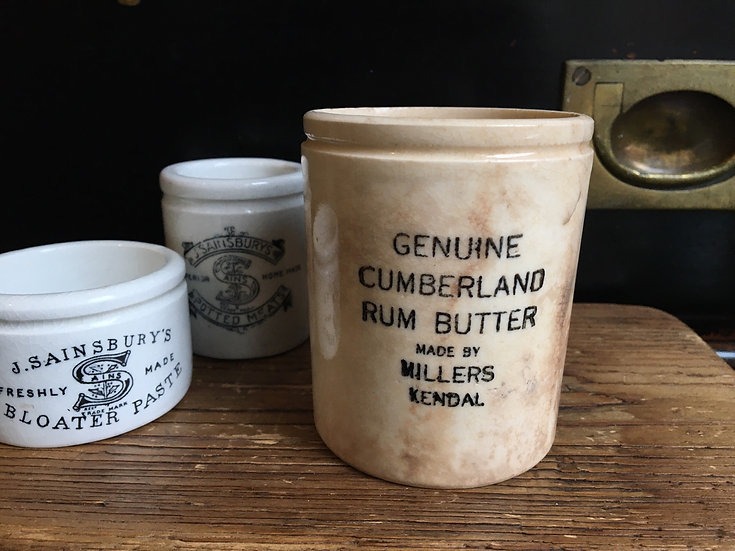 Antique stained ironstone Cumberland Rum Butter pot - Millers Kendal