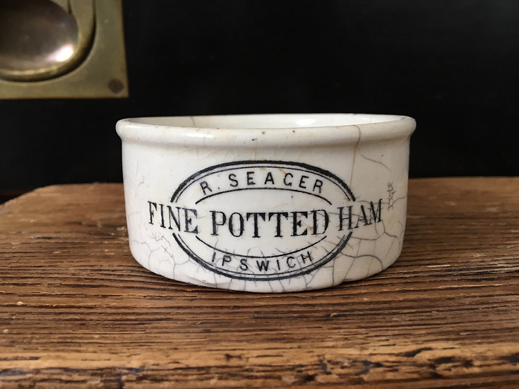 Ironstone R Seager fine potted Ham pot - potted meat pot