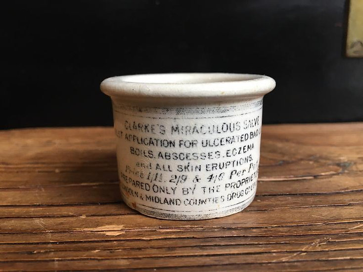 Small antique Victorian ointment pot - Clarkes ointment - antique pharmacy pot