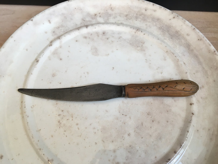 Antique Victorian breadknife with carved wooden handle - treen bread knife