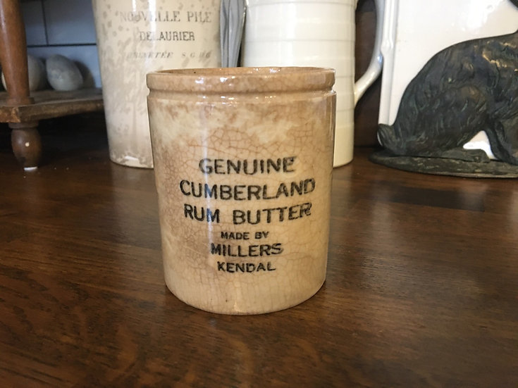 Stained ironstone Cumberland butter pot