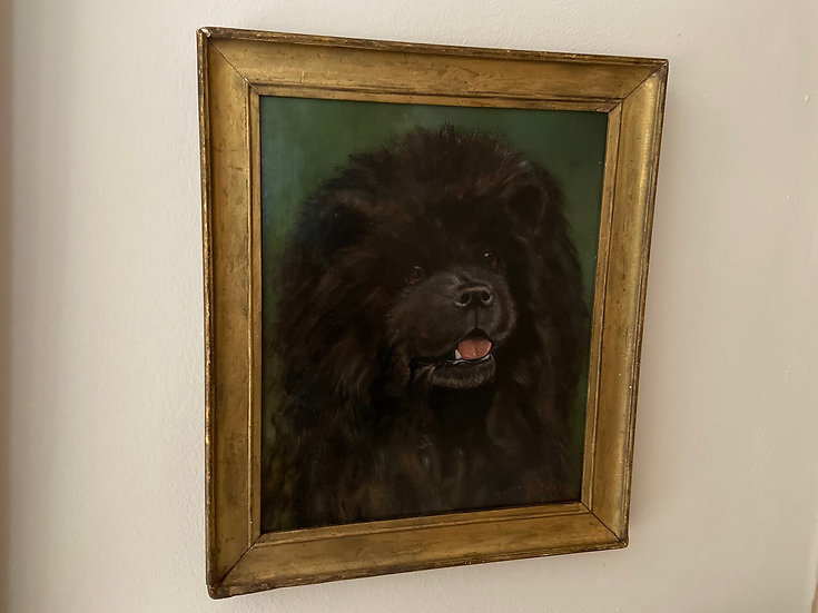 Antique oil painting of black Chow Chow dog