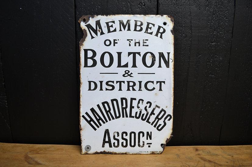 'Member of the Bolton & District Hairdressers Association' enamel sign