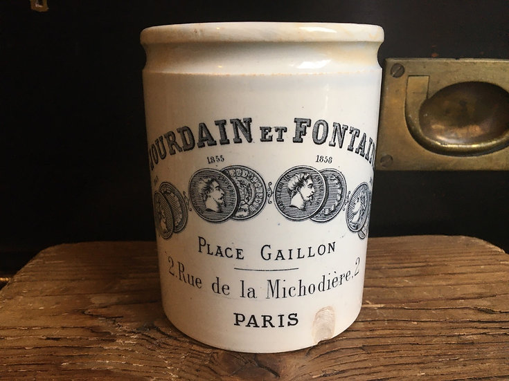 Antique French ironstone confiture pot