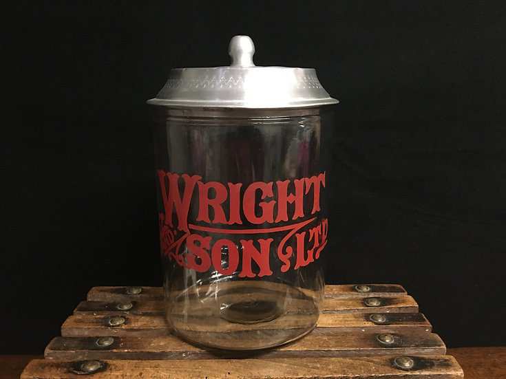 Antique Wright & Sons glass biscuit jar