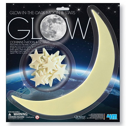 Glow in the dark Moon & Stars | מדבקות זוהרות בחושך ירח גדול וכוכבים