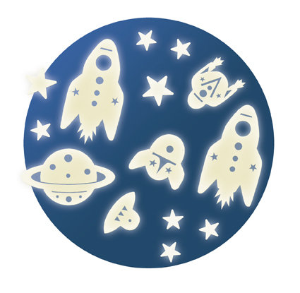 MISSION ESPACE-glow in the dark מדבקות זוהרות חלל
